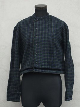 cir. ~1930's green checked wool jacket / blouse