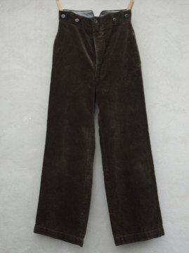 mid 20th c. brown cord work trousers small size