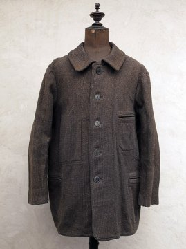1930-1940's brown checked wool work jacket
