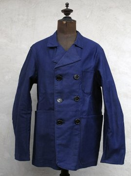 1930-1950's double breasted blue moleskin work jacket dead stock