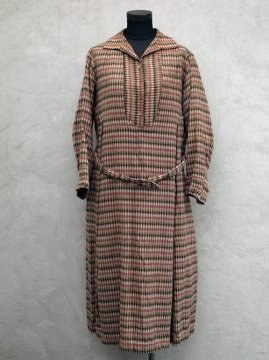 1930-1940's pink × brown patterned woven dress