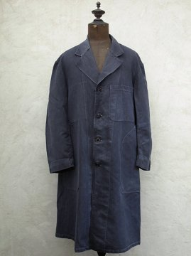 mid 20th c. black cotton linen maquignon work coat