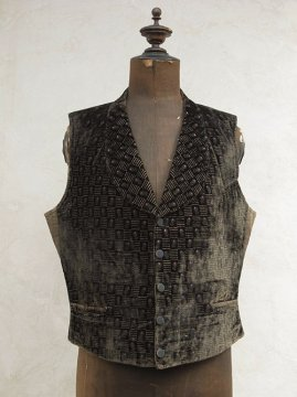 late 19th c. patterned black velvet gilet