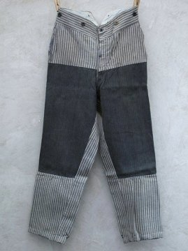 1930-1940's striped gray cotton work trousers
