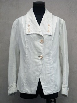 early 20th c. linen × cotton white jacket