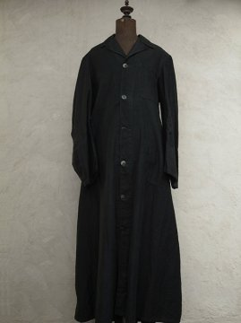 ~1940's black cotton long coat