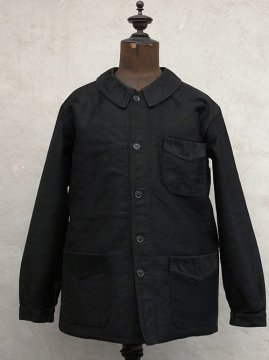 ~1940's black moleskin work jacket dead stock