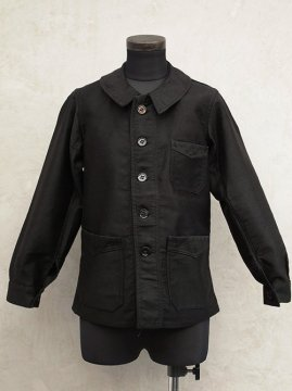~1940's kids black moleskin work jacket dead stock
