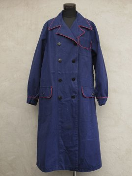 ~mid 20th c. double breasted blue work coat