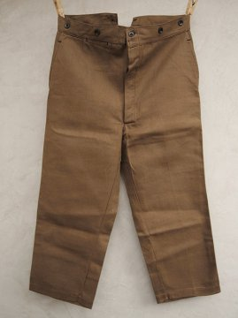 cir. 1930's brown twill work trousers dead stock