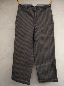 1940's gray striped pique work trousers