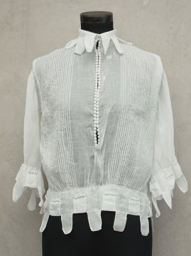 early 20th c. white linen cotton S/SL blouse
