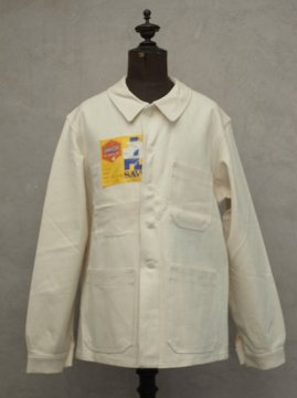 mid 20th c. white cotton work jacket dead stock