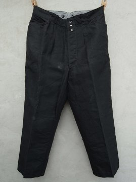 mid 20th c. black linen work trousers