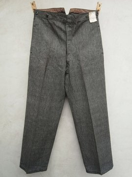 1930's salt&pepper cotton work trousers dead stock