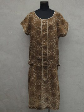 1920's brown printed dress