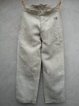 1900's herringbone linen work trousers military