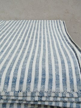 18th c. indigo striped linen fabric