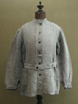 cir. early 20th c. black linen work jacket