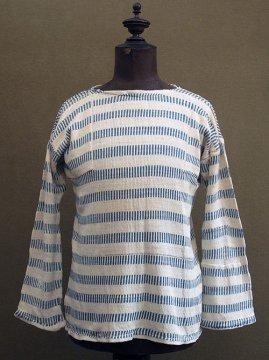 cir. 1930's indigo stripe knitted cotton top