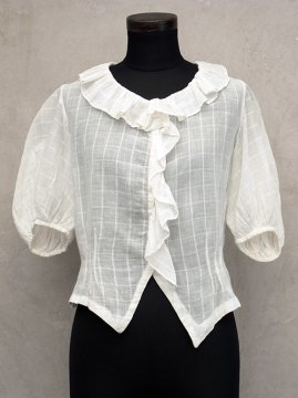 cir.1930's checked white blouse S/SL