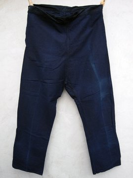 cir.1930's indigo linen cotton work overpants