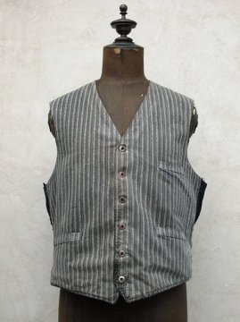 1930-1940's gray striped cotton work gilet