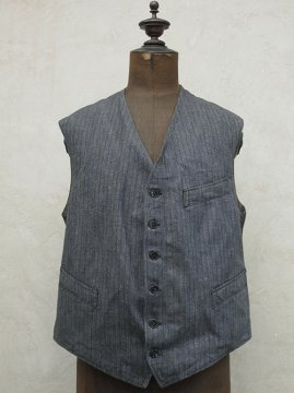 1940's striped salt&pepper cotton work gilet