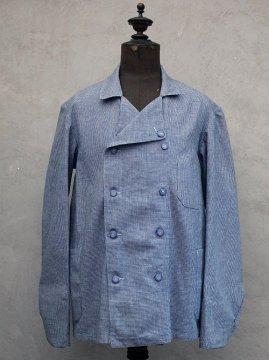 cir.1940's indigo houndstooth cotton double breasted jacket dead stock