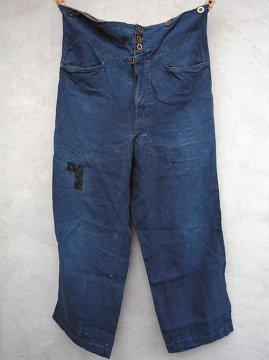 ~1930's indigo linen maquignon work trousers