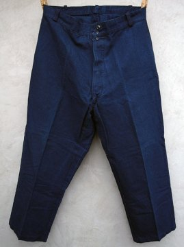 1930-1940's indigo linen cotton work trousers