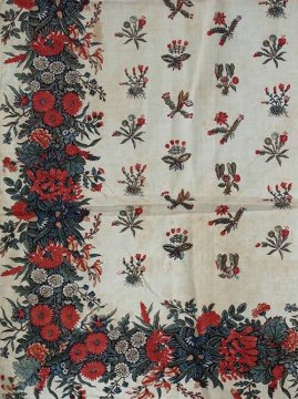 18-19th c.flower printed cotton scarf