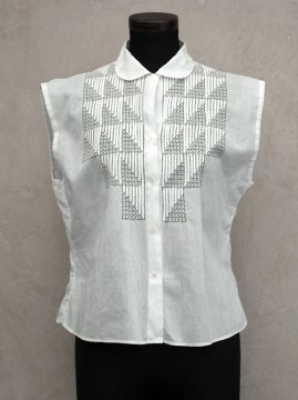 1930-1940's white N/SL blouse