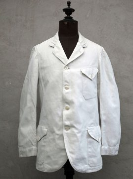 early 20th c. white herringbone cotton linen sack coat