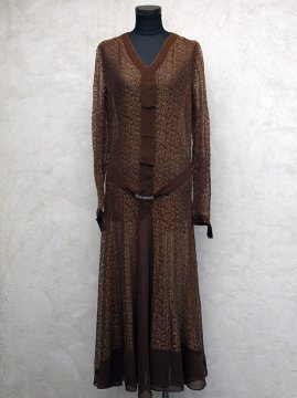 1930's brown lace dress