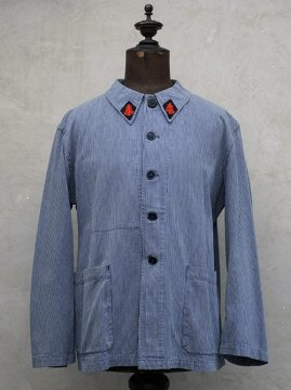 mid 20th c. porter's blue striped work jacket