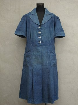 1930's indigo dots dress S/SL