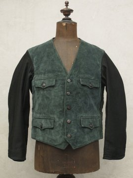 mid 20th c. green cord gilet jacket