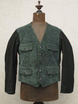 mid 20th c. green cord gilet jacket