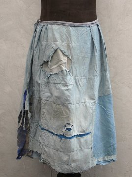 early 20th c . ptatched indigo skirt boro