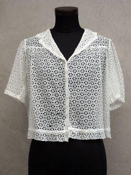 cir.1930's lace blouse S/SL