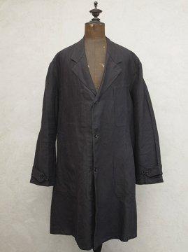 mid 20th c. black linen maquignon coat dead stock