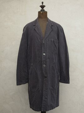 mid 20th c. black linen cotton maquignon coat