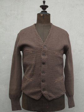 ~1930's brown wool knitted cardi