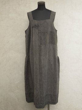 ~1930's gray striped wool N/SL dress