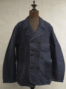 cir. 1940's dutch double breasted blue moleskin work jacket