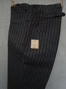 ~1930's gray striped linen work trousers dead stock