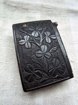19th c. bog oak black vesta case