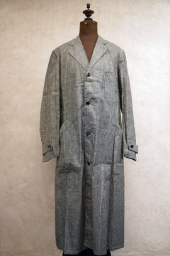 1940's linen chambray atelier coat dead stock