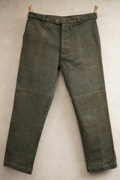 mid 20th c. olive pique work trousers dead stock
